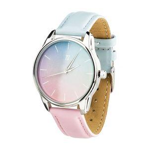 Купить Часы Маст хэв с принтами, Часы Розовый кварц и Безмятежность (ремешок голубо-розовый, серебро) + дополнительный ремешок (4615085)
