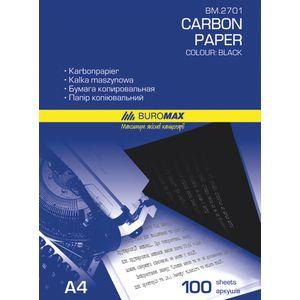 Купить Бумага копировальная, миллиметровая, калька, Бумага копировальная черная BUROMAX, А4, 100 листов